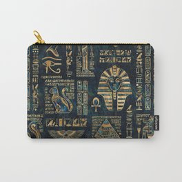 Egyptian hieroglyphs and deities -Abalone and gold Carry-All Pouch