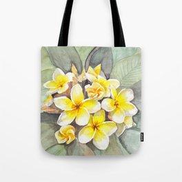 Frangipani White Tote Bag