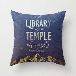 Library Temple Throw Pillow