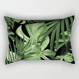 Tropical Jungle Night Leaves Pattern #5 #tropical #decor #art #society6 Rectangular Pillow