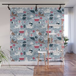 Veterinary medicine, happy and healthy friends // pastel blue background Wall Mural