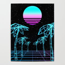 Vapor Wave Palm Trees Poster
