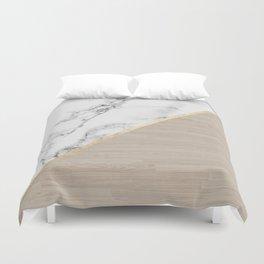 Modern white marble gold stripe wood color block Duvet Cover