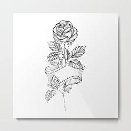 Rose Sketch with Ribbon Metal Print