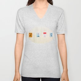 Signs on a corrugated metal wall Unisex V-Neck