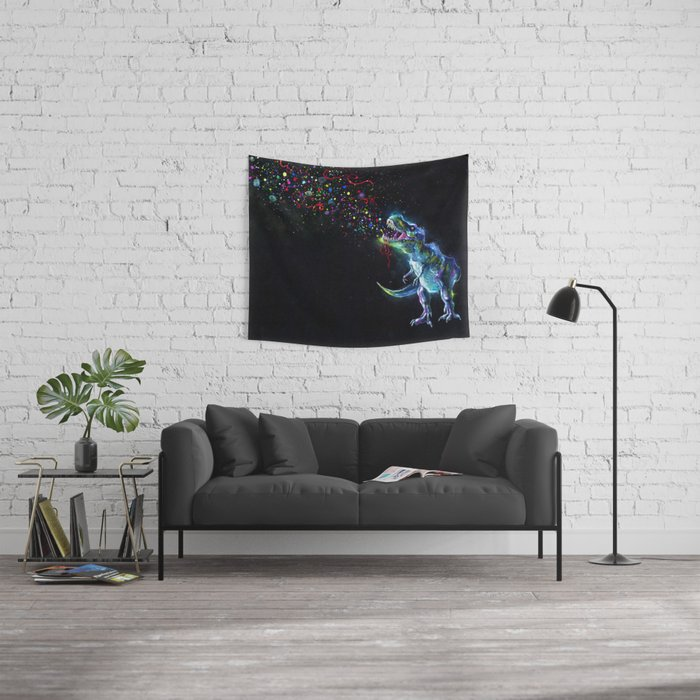 Crystal T-Rex in Space Wall Tapestry