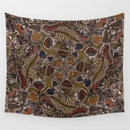 Funghi & Fern Forest, Fall Colors , Foraging for Woodland Mushrooms Brown, Orange Purple Wall Tapestry