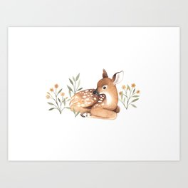 Meadow and Fawn Art Print