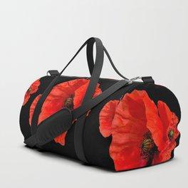 Poppies on Black Duffle Bag