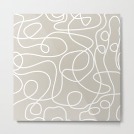 Doodle Line Art | White Lines on Warm Gray Metal Print