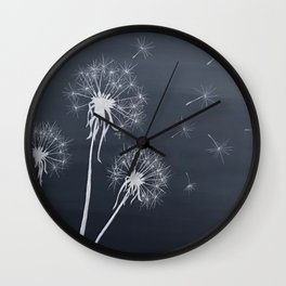 Black and White Wishing upon a Dandelion Wall Clock