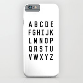 Black and White Typography Alphabet Design Poster with Monochrome Minimalist Letters Home Decor iPhone Case