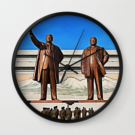 The Gods Of The North | Kim Il-sung And Kim Jong-il Oil Painting Wall Clock