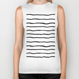 Black white hand painted geometrical stripes Biker Tank