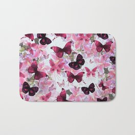 Rose pink lavender floral collage whimsical butterfly Bath Mat