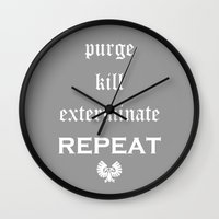warhammer Wall Clocks featuring Purge-kill-exterminate white, Warhammer 40K by ZsaMo Design