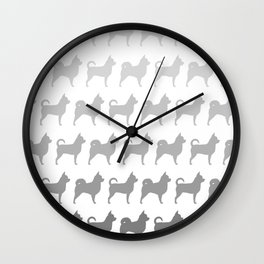 Chihuahua Silhouettes Pattern Wall Clock