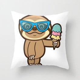 Sloth Summer!! Throw Pillow