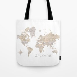 Wanderlust watercolor world map with compass rose Tote Bag