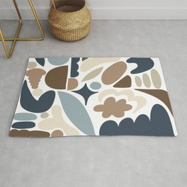 Modern Organic Abstract / Beach Colors - Browns and Blues Rug