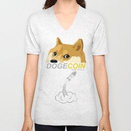 DogeCoin, to the moon! Unisex V-Neck
