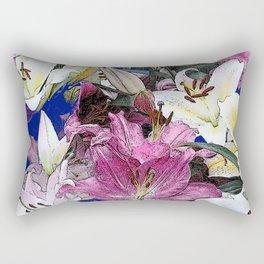 PURPLE & WHITE ASIAN GARDEN LILIES DRAWING Rectangular Pillow