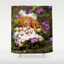 Clothes Peg Doll and Flowers Shower Curtain