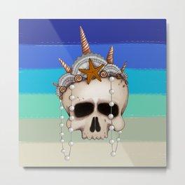 Mermaid Skull Metal Print