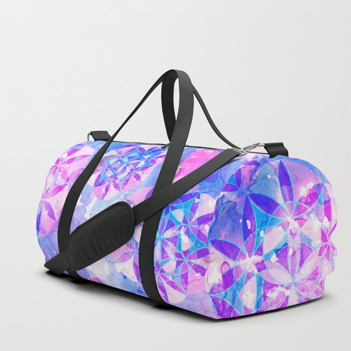 Flower-of-Life Paint Pattern Blue Duffle Bag