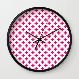 Hot Neon Pink Crosses on White Wall Clock