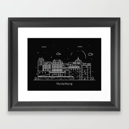 Heidelberg Minimal Nightscape / Skyline Drawing Framed Art Print