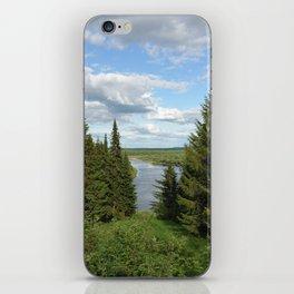 Landscape view on the taiga in Kargort village in Komi Republic of Russia. iPhone Skin