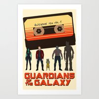 guardians of the galaxy Art Prints featuring GUARDIANS OF THE GALAXY by Kaitlin Smith