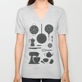 Kitchen Tools (black on white) Unisex V-Neck