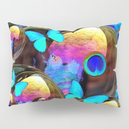 SURREAL NEON BLUE BUTTERFLIES IRIDESCENT SOAP BUBBLES PEACOCK EYES Pillow Sham