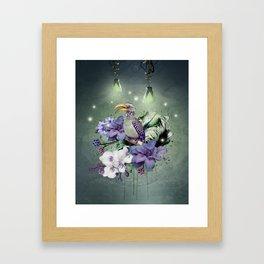 FLORAL MAGIC HORNBILL Framed Art Print