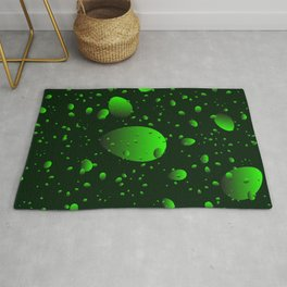 Large green drops and petals on a dark background in nacre. Rug