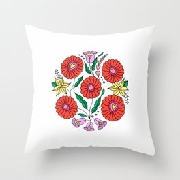 Hungarian embroidery inspired pattern white Throw Pillow