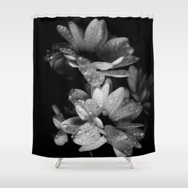 Flower and drops. Black and white. Shower Curtain