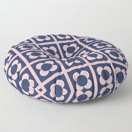 Scandi Flower Minimalist Mid Century Floral Pattern 2 in Pink, White, and Navy Blue Floor Pillow