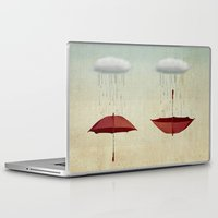 rain Laptop & iPad Skins featuring embracing the rain by Vin Zzep