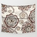 Coffee & Cocoa - brown & cream floral doodles on wood by micklyn