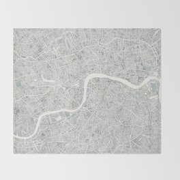 City Map London watercolor map Throw Blanket