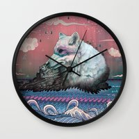 clouds Wall Clocks featuring Lone Wolf by Mat Miller