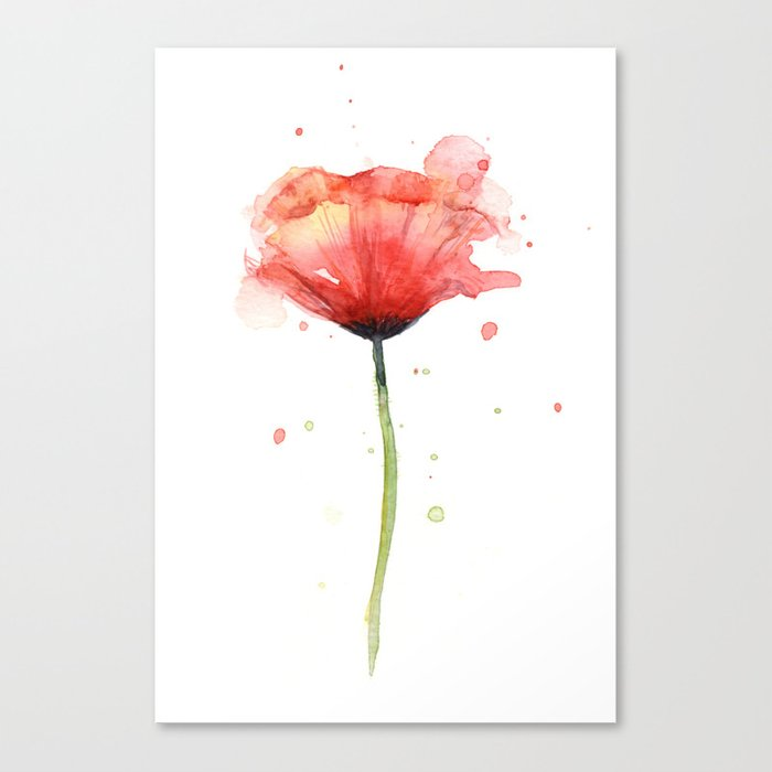 Red Poppy Watercolor Flower Floral Canvas Print