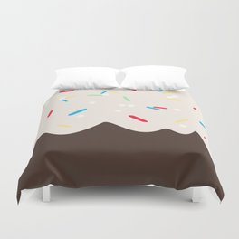 Hot chocolate with whipped cream and sprinkles Duvet Cover