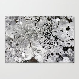 Close up background of melted ice. Canvas Print