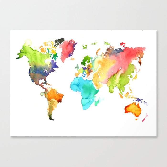 Watercolor World Canvas Print
