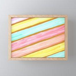 Retro Watercolor Stripes  Framed Mini Art Print