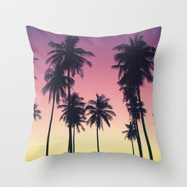 Palmtrees Sunset Throw Pillow